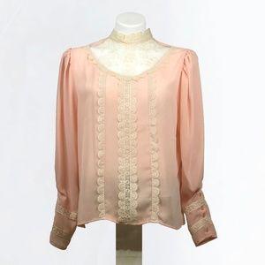 Victorian Style High Neck Lace Blush Blouse Sz 14